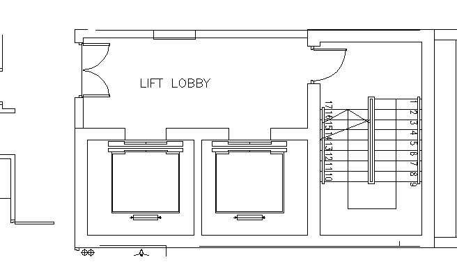 Hotel design guestroom sample elvator foyer plan 3 for Elevator floor plan