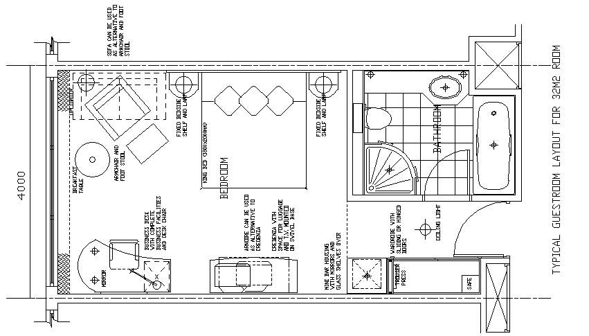Hotel Design Guestroom Sample Plan 11
