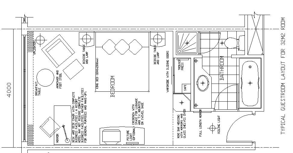 hotel design guestroom sample plan 10
