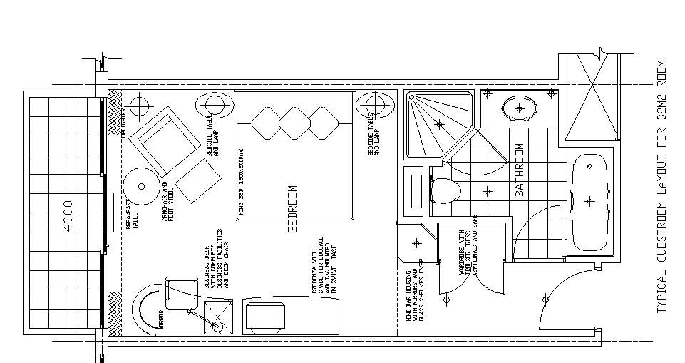 Hotel Design Guestroom Sample Plan 9